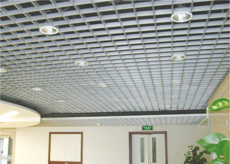 indoor Square Metal Grid Ceiling film coating / metro grille ceiling anti - corrosion
