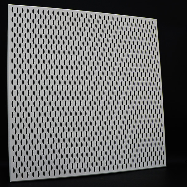 Fireproof Clip In Ceiling Panel , 600*600 Large Aluminum Plafond Perforated Metal Tiles